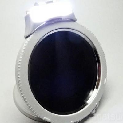 《500円クーポン配布》 5倍メンブレンミラーLEDライト付き 白パール PM-C80D-LED 5倍拡大鏡 手鏡 化粧鏡 コンパクトミラー め
