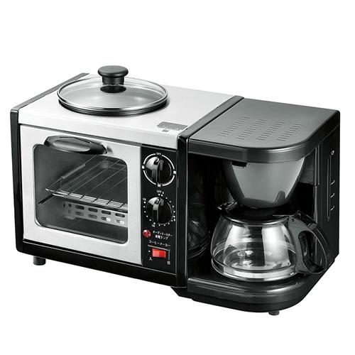 《200円クーポン配布》 モーニングトリオ MT-3 ガラス蓋付き 1台3役 コーヒー トースト 目玉焼き オーブントースター コーヒーメーカー トースターパン焼き器 あ