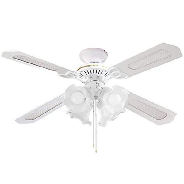 《200円クーポン配布》 LED シーリングファン 照明 4灯タイプ LED電球 対応 SLF4-WH 空気循環器 シーリングライト インテリアファン 扇風機 送風機 天井扇風機 天井送風機 り