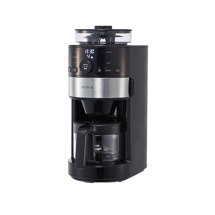シロカ コーヒーメーカー おしゃれ ブラック 黒 挽きたて 淹れたて 淹れ立て 自宅 家庭 タイマー予約機能 コーヒーメーカー 全自動 おすすめ 本格ミル コーヒーマシン 全自動コーヒーメーカー SCC111 コーヒーミル内臓 タイマー予約機能 豆から挽きたてコーヒー か