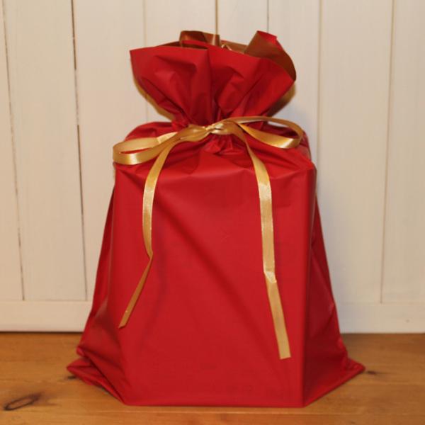 キャッシュレス5%還元 クリスマス 誕生日 敬老の日 内祝い 手土産 バレンタインデー ホワイトデー 父の日 母の日 ギフト ラッピングアイテム 梨地リボン付 ラッピング袋 LLサイズ レッド ラッピング用袋のみ販売 幅450×高さ560×マチ120mm 梨地リボン付き巾着袋 プレゼント 梱包 へ