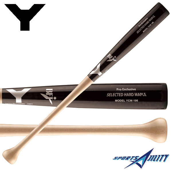 野球 硬式 木製バット 【ヤナセ/Yanase】 Yバット ミドルバランス メイプル 長さ84.5cm 重さ約900g ブラック×ナチュラル (YCM-106)