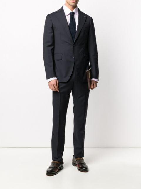 タリアトーレ スーツ ビジネス メンズ Tagliatore woven two piece suit BlueI29YWDHE
