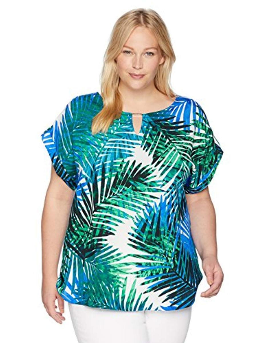 Calvin Klein Women's Plus Size Printed Top with Bar Hardware, ブラウス・シャツ - ガールズブラウス&ボタンダウンシャツ Capri Multi