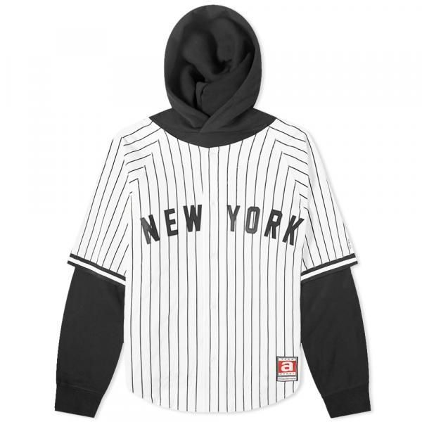アレキサンダーワン シャツ ジャケット メンズ【Alexander Wang Baseball Shirt Layered Hoody】Black