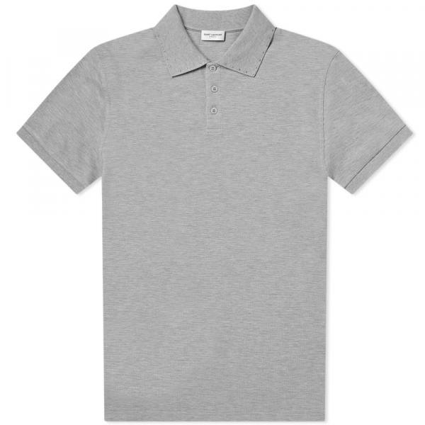 イヴ・サンローラン ポロシャツ トップス ポロ メンズ【Saint Laurent Stud Collar Polo】Grey Marl