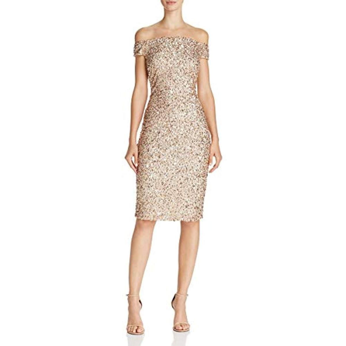 Adrianna Papell Womens Sequined Off The Shoulder Cocktail Dressレディースドレス Champagne SilverkZnNX8wOP0