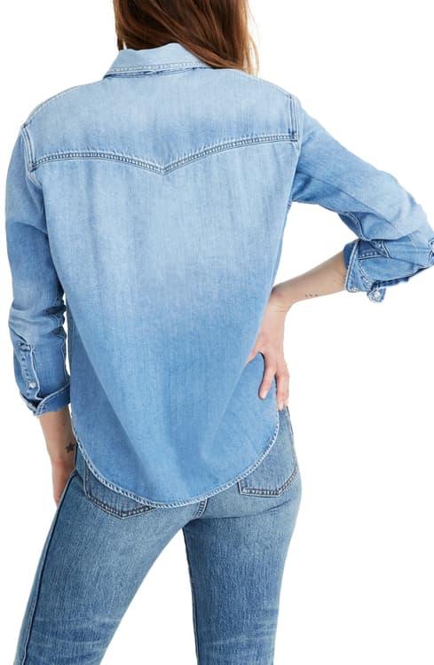 メイドウェル トップス レディース MADEWELL Oversize Denim Western Shirt Aberdale WashRjAc35L4q