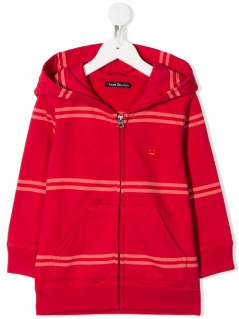 パーカー トレーナー キッズ 男の子【Acne Studios Kids Mini Ferris striped hoodie】Red