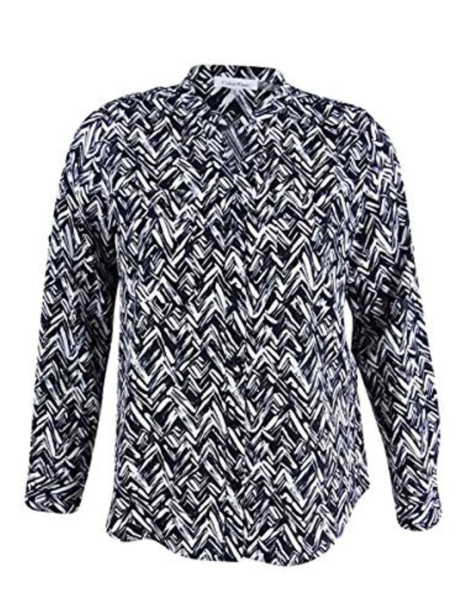 Calvin Klein Womens Long Sleeves Casual Top ブラウス・シャツ - ガールズブラウス&ボタンダウンシャツ Black/White
