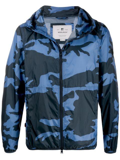 ウールリッチ ウインドブレーカー 防寒 メンズ【Woolrich camouflage print windbreaker】Blue