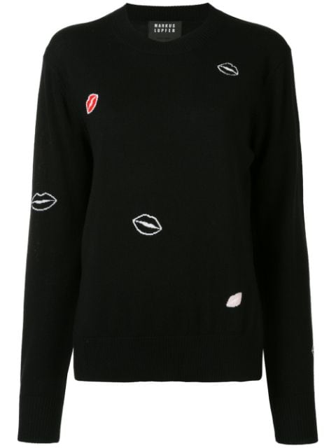 マーカス・ルプファー セーター カーディガン レディース【Markus Lupfer lips print jumper】Black