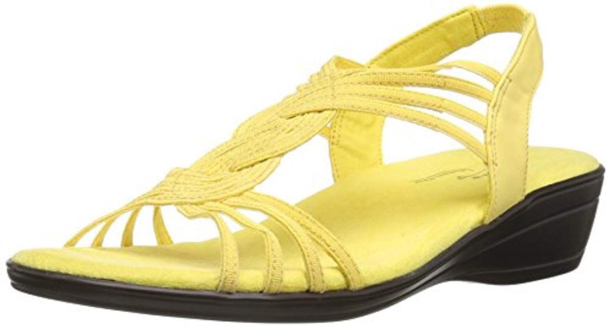 Easy Street Women's Natara Flat Sandal - レディースフラットサンダル Yellow