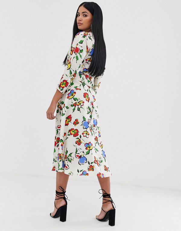 エイソス ドレス サマードレス レディース ASOS DESIGN midi dress with ruched panel iRq3Aj5L4