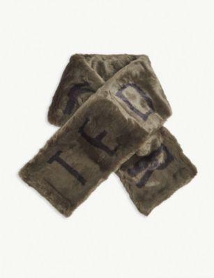 テッドベーカー スカーフ レディース【TED BAKER Branded faux-fur scarf】Green