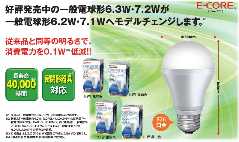 従来品と同等の明るさで、消費電力を0.1W低減!!LED電球◆6.2W 485lm 昼白色相当 LDA6N/4 100個セット