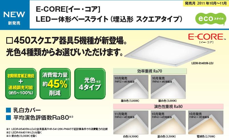 LED一体形ベースライト(埋込形 スクエアタイプ)◆FHP45*3灯用相当  □620直付タイプ◆LEDT-80401W-LDJ