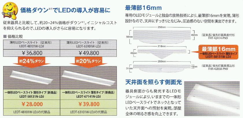 LED一体形ベースライト(薄形タイプ) Hf32形高出力蛍光灯器具2灯用相当【1169mmタイプ】◆LEDT-67141N-LDJ