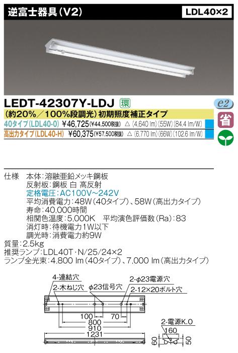 直管形LEDベースライト(人感センサー内蔵形)◆LDL40*2用◆40タイプ 直付逆富士 LEDT-42307Y-LDJ