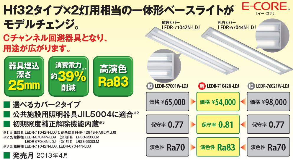一体形LEDベースライト(埋込形ストレートタイプ)◆Hf32タイプ 1灯用◆乳白カバー LEDR-67044N-LD9