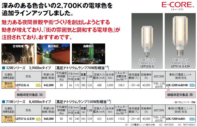 HID形(電源別置形) LEDランプ■71W 10000lm 昼白色■LDTS71N-G-E39