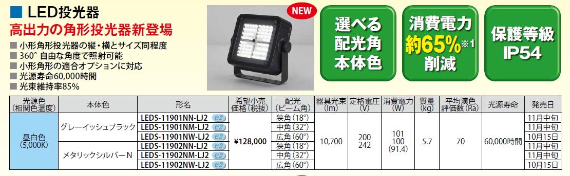 LED投光器◆メタルハライドランプ250W相当◆広角 LEDS-11901NW-LJ2