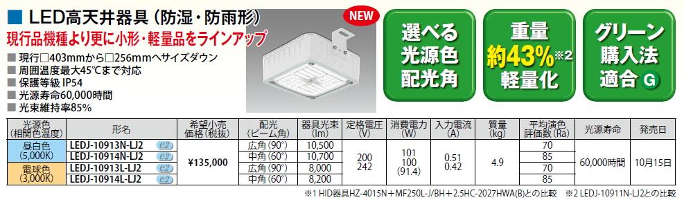 LED高天井器具【防湿・防雨形】◆メタルハライドランプ250W相当◆電球色 中角 LEDJ-10914L-LJ2