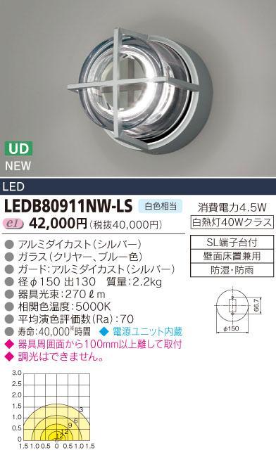 LEDブラケット 300シリーズ■白熱灯40Wクラス■白色相当LEDB80911NW-LS