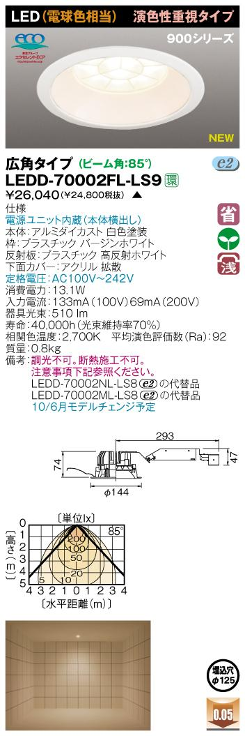 E-CORE LEDダウンライト900シリーズ◆演色性重視タイプ LEDD-70002FL-LS9