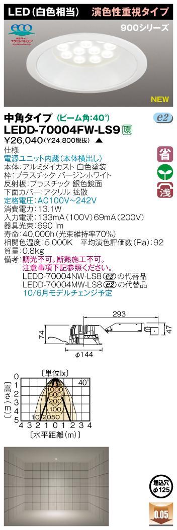 E-CORE LEDダウンライト900シリーズ◆演色性重視タイプ LEDD-70004FW-LS9