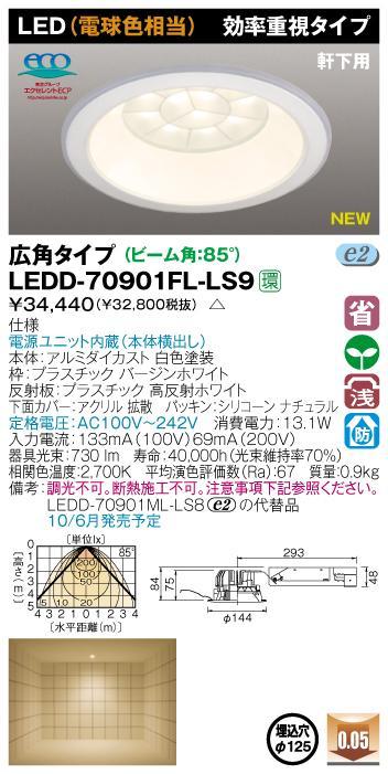 E-CORE LEDダウンライト900シリーズ◆軒下用 効率重視タイプ LEDD-70901FL-LS9