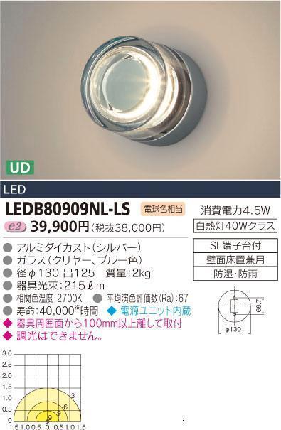 E-CORE LED屋外用ブラケット LEDブラケット300シリーズLEDB80909NL-LS