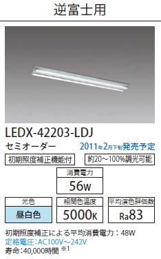 直管形LEDベースライト リニューアルキット 逆富士用◆LEDX-42203-LDJ