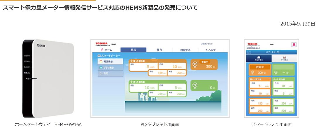 スマート電力量メーター(次世代電力量計)情報発信サービスに対応したホームゲートウェイ■HEM-GW16A