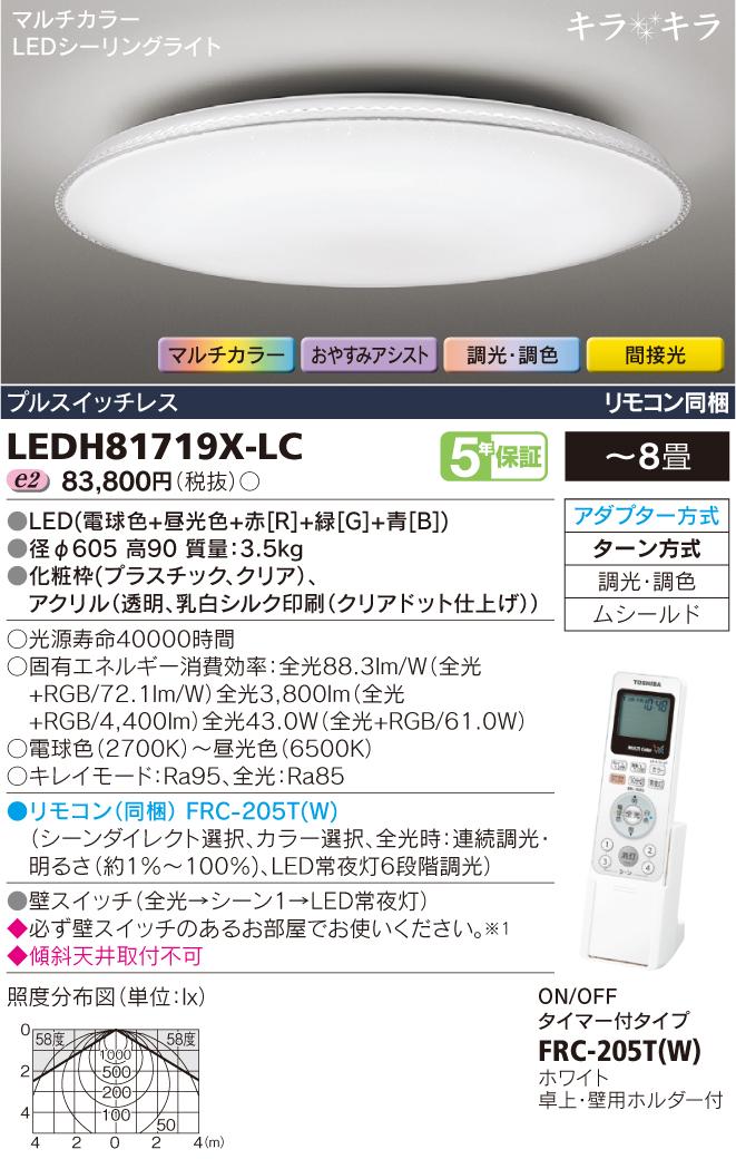 マルチカラーLEDシーリングライト キラキラ◆8畳用■リモコン同梱 LEDH81719X-LC