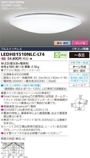 HEMS【照明器具】【キレイ色-kireiro-】東芝ライテック:TOSHIBA(TOB)LEDシーリング~8畳/LEDH81510NLC-LT4/受注生産品