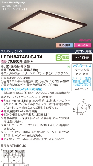 HEMS【照明器具】【キレイ色-kireiro-】東芝ライテック:TOSHIBA(TOB)LEDシーリング~10畳/LEDH84746LC-LT4/受注生産品