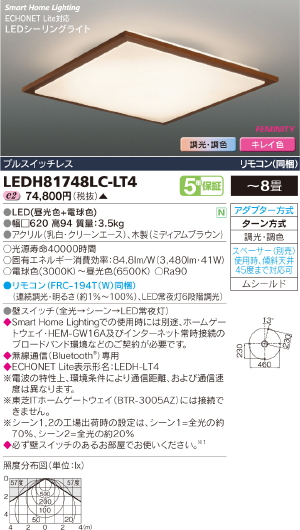 HEMS【照明器具】【キレイ色-kireiro-】東芝ライテック:TOSHIBA(TOB)LEDシーリング~8畳/LEDH81748LC-LT4/受注生産品