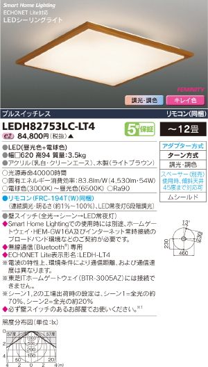 HEMS【照明器具】【キレイ色-kireiro-】東芝ライテック:TOSHIBA(TOB)LEDシーリング~12畳/LEDH82753LC-LT4/受注生産品
