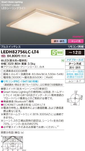 HEMS【照明器具】【キレイ色-kireiro-】東芝ライテック:TOSHIBA(TOB)LEDシーリング~12畳/LEDH82756LC-LT4/受注生産品