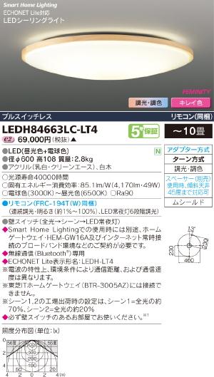 HEMS【照明器具】【キレイ色-kireiro-】東芝ライテック:TOSHIBA(TOB)LEDシーリング~10畳/LEDH84663LC-LT4/受注生産品