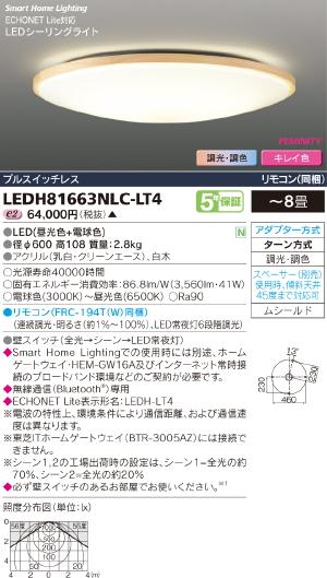 HEMS【照明器具】【キレイ色-kireiro-】東芝ライテック:TOSHIBA(TOB)LEDシーリング~8畳/LEDH81663NLC-LT4/受注生産品
