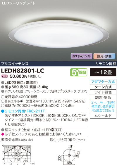 FROSTRING【照明器具】東芝ライテック:TOSHIBA LEDシーリング~12畳/LEDH82801-LC