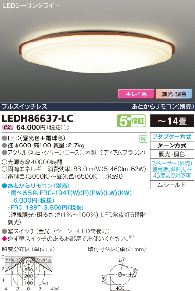 最新品!!高演色LEDシーリングライト【キレイ色-kireiro-】Rutal medium◆14畳用◆LEDH86637-LC