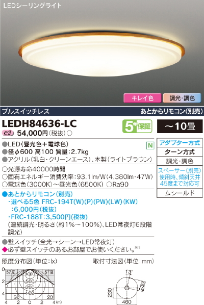 最新品!!高演色LEDシーリングライト【キレイ色-kireiro-】Ruotal light◆10畳用◆LEDH84636-LC