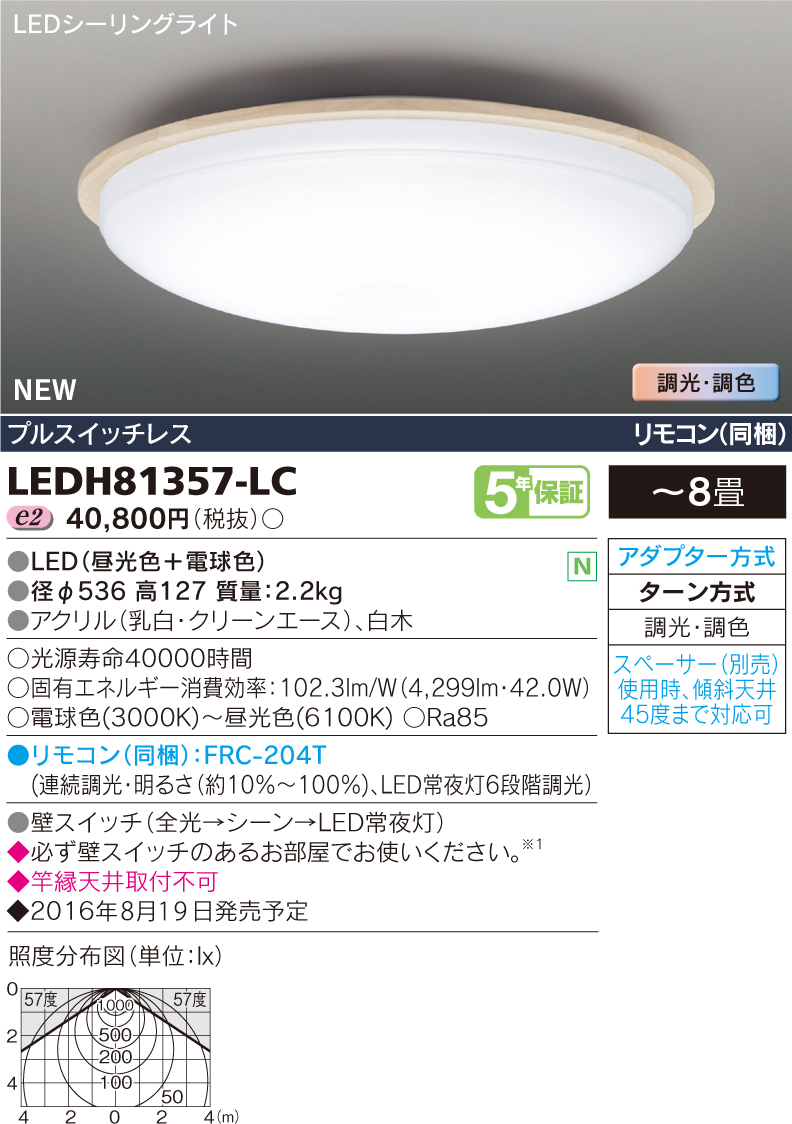 HAKUGETSU 8畳用◆LEDH81357-LC