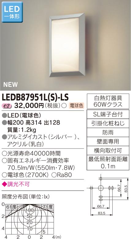 ポーチ灯 LED一体形◆LEDB87951L(S)-LS