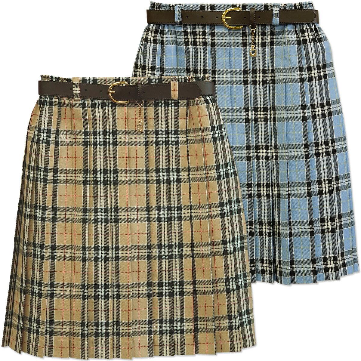 5b0007443 Skirt 2200 beige skirt blues cart 160 Bullitt check with child pleated  skirt lattice pleated skirt ...
