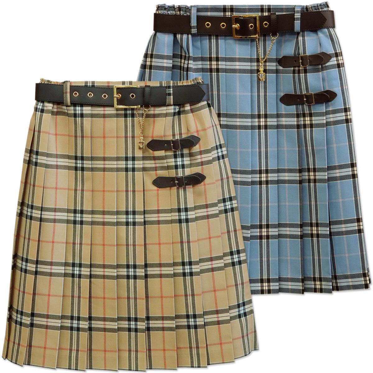 66004558e Skirt 9203 beige skirt blues cart 160 Bullitt check with child pleated  skirt lattice pleated skirt ...