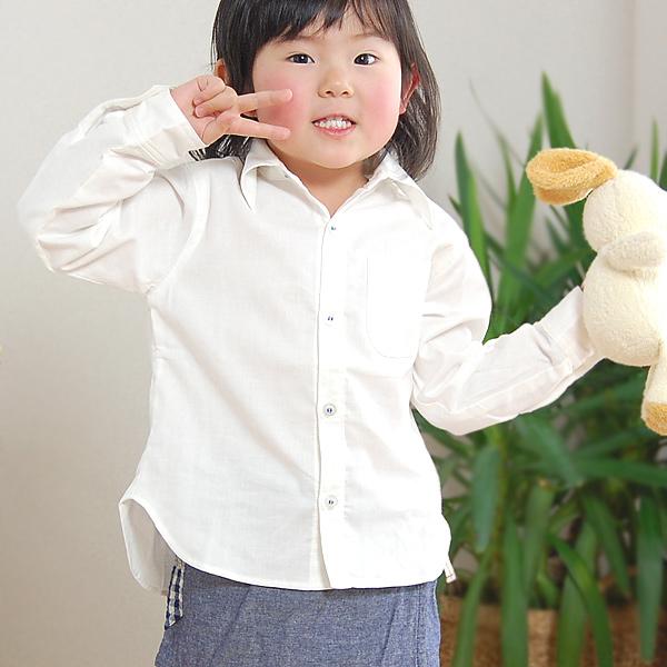 【在庫限り】肌に優しい綿100%無添加【Nuddy Cotton】ガーゼ2重キッズ子供用長袖シャツ*ジュニア80.90.100.110.120サイズ オフホワイト 吸汗速乾/丸洗いOK『日本製』
